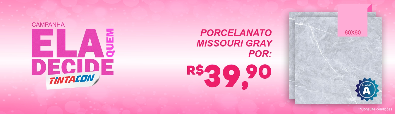 Porcelanato Missouri Gray - R$39,90