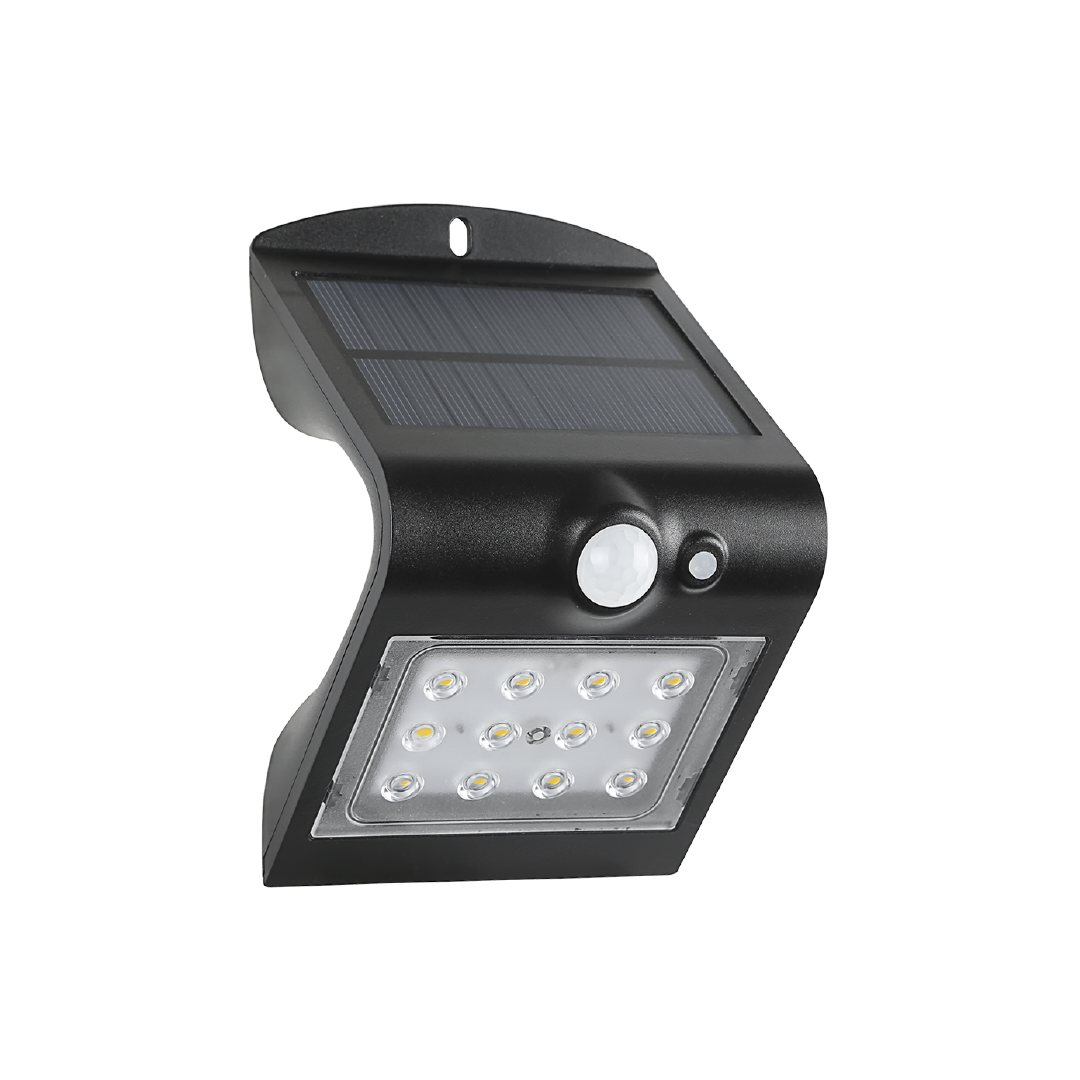 Arandela Solar V LED Preto 1,5W 6500k Com Sensor - DEMI