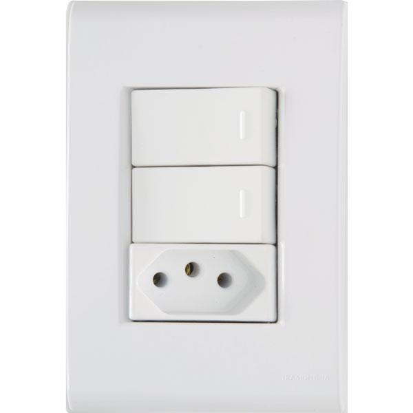 Interruptor Simples 2T+Tomada 2P+T 10A/250V Liz 57170/073 - Tramontina