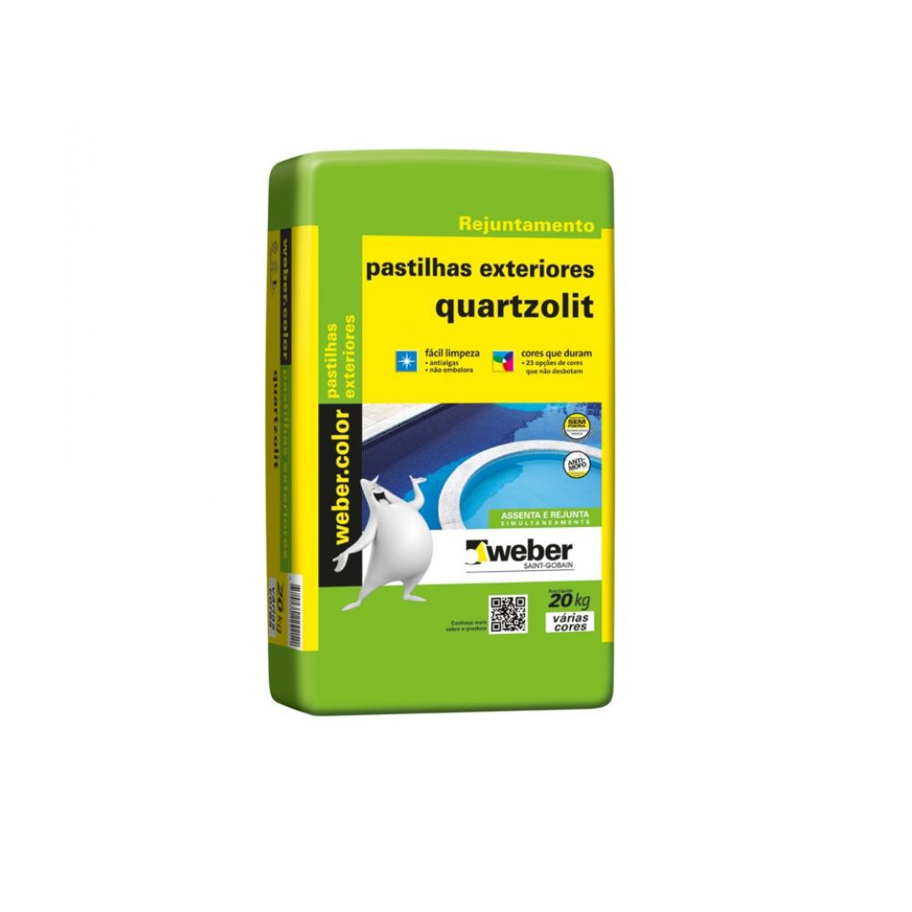 Argamassa p/ Pastilha Vidro Int/Ext 20kg Bege - Quartzolit